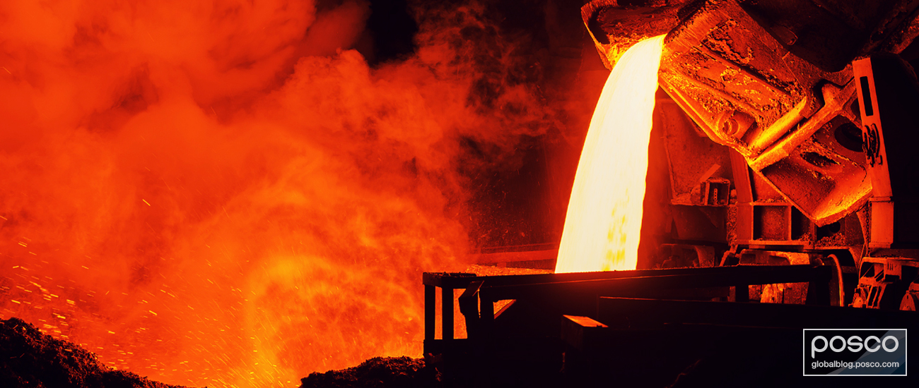 Hot liquid steel being poured out