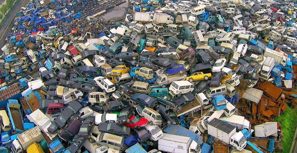 Thousands of vehicles are scrapped in a junkyard in Hangzhou city, Zhejiang province, following the Chinese government's efforts to reduce emissions.
