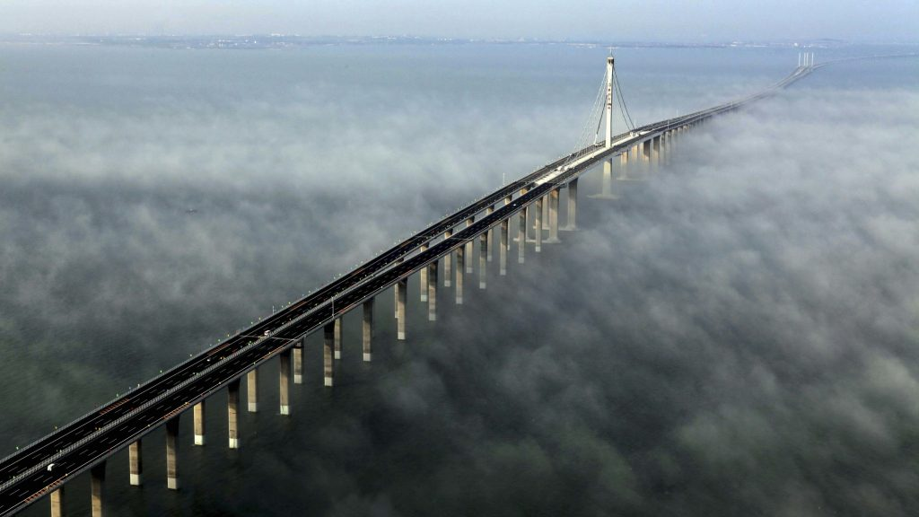The Jiaozhou Bay Bridge in China is the longest sea-crossing bridge in the world