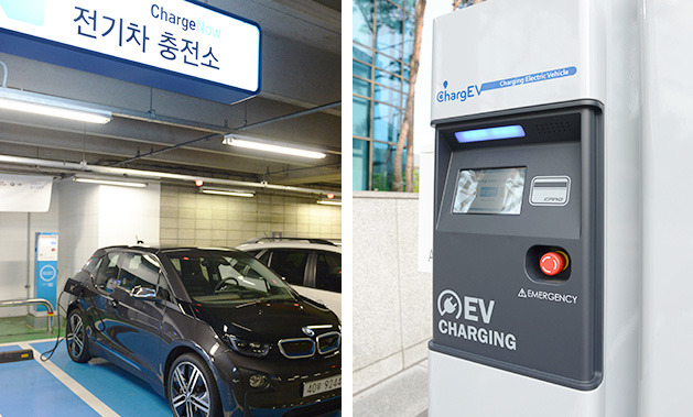 A car is seen charging at a POSCO ChargEV station.