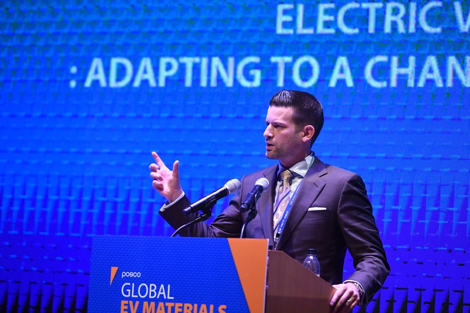 Stephen Zoepf giving a presentation at the 2017 Global EV Materials Forum.