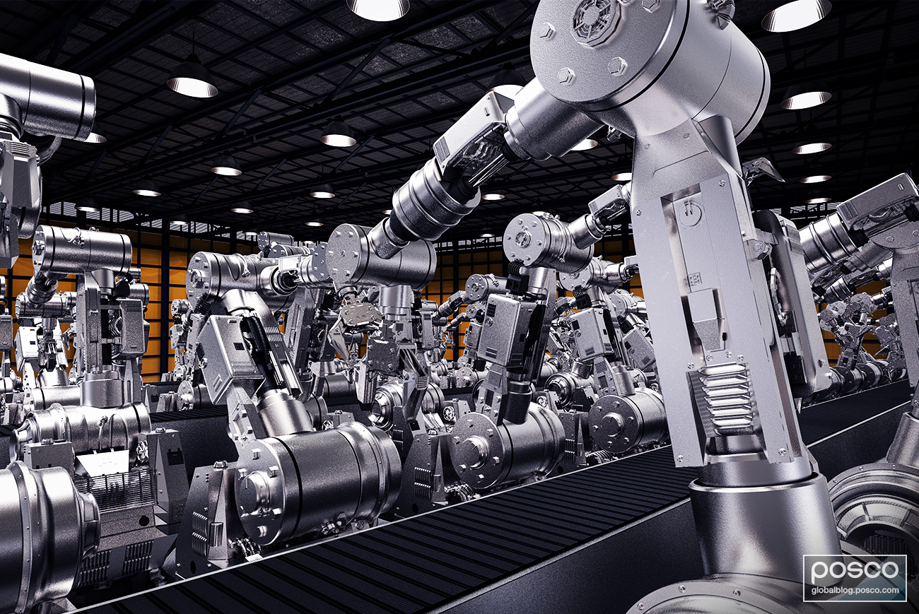 Robots in a smart manufacturing industry.