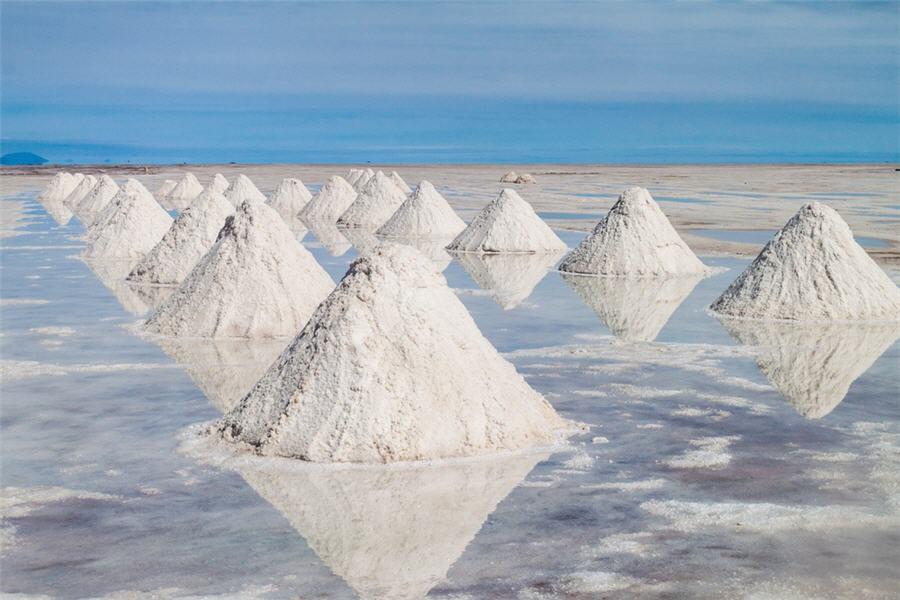 Mounds of lithium salts.