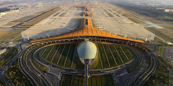 Bird's eye view of the runway at Beijing Capital International Airport in China.