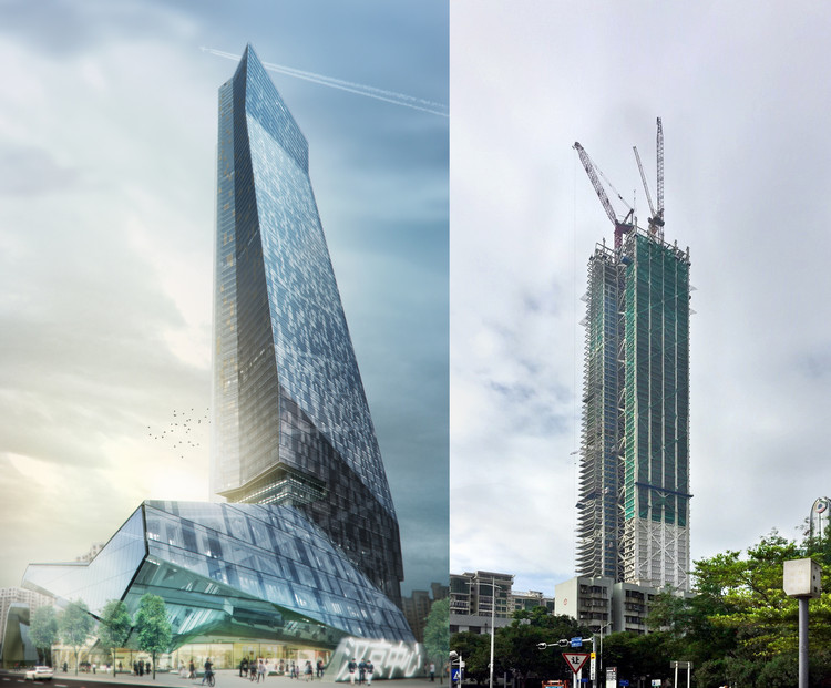 A graphic representation of the completed Hanking Center Tower (left) and the building under construction (right).