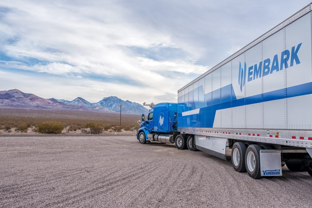 Embark's autonomous truck heading out to the road.