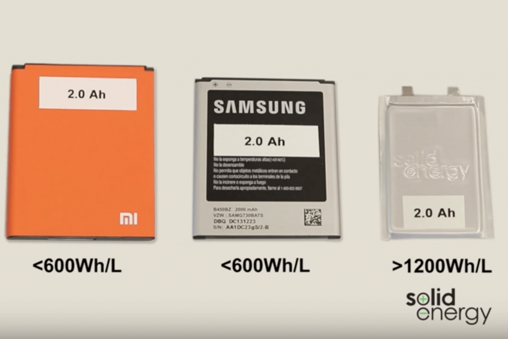 SolidEnergy Systems lithium metal battery being compared to 2 other batteries for size and power.