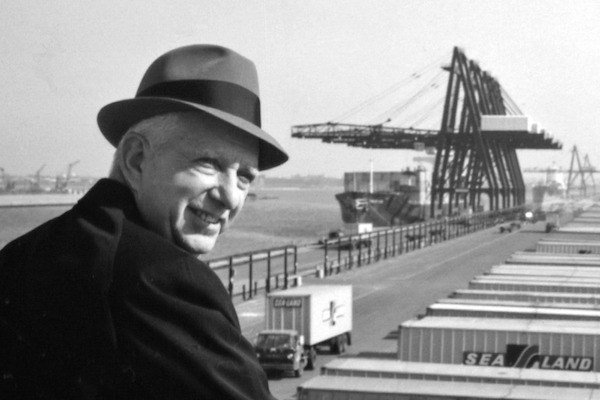 Malcolm McLean looking over a port.