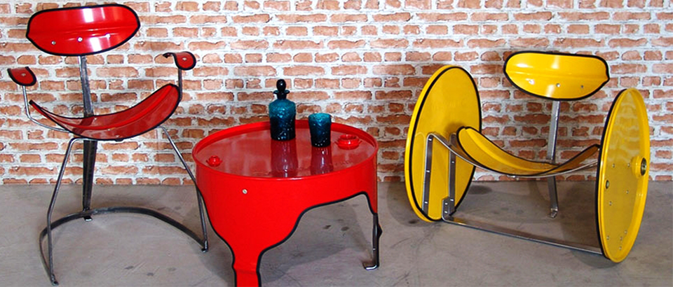 upcycled oil barrels transformed into furniture