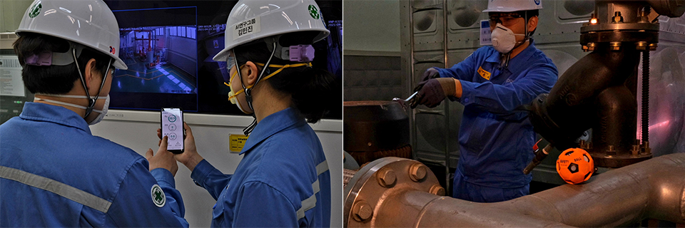 POSCO employees are working on real-time harmful gas measurements through smart safety balls and linked apps at the site.