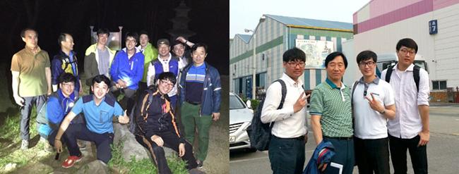 ▲ 동료들과 함께 한 무장산 야간산행(왼쪽)과 유니온스틸 기술교류회 참석 당시 모습(오른쪽)