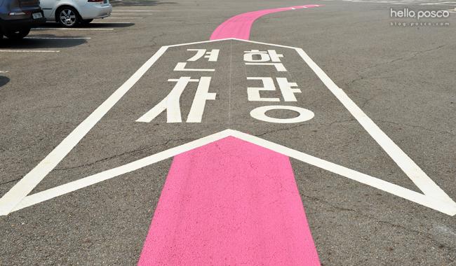 견학차량안내선. 핑크색으로 되어있다.