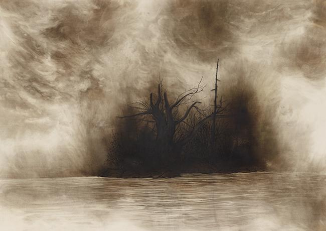 한경원, a ruined forest 몰락한 숲, 목판에 혼합재료, 120 X 160cm, 2017