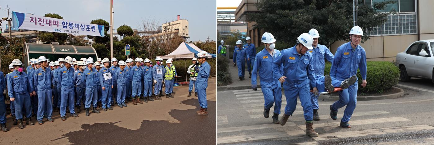 본관 건물에 상주하는 임직원 전원과 원료 제련공장 교대 C조 직원 등 약 80여 명의 훈련 참가자들은 이날 진도 5.2 규모의 지진에 따른 부상자 발생, 화재 및 유독물질 누출사고 등의 상황을 가정해 훈련을 진행하는모습