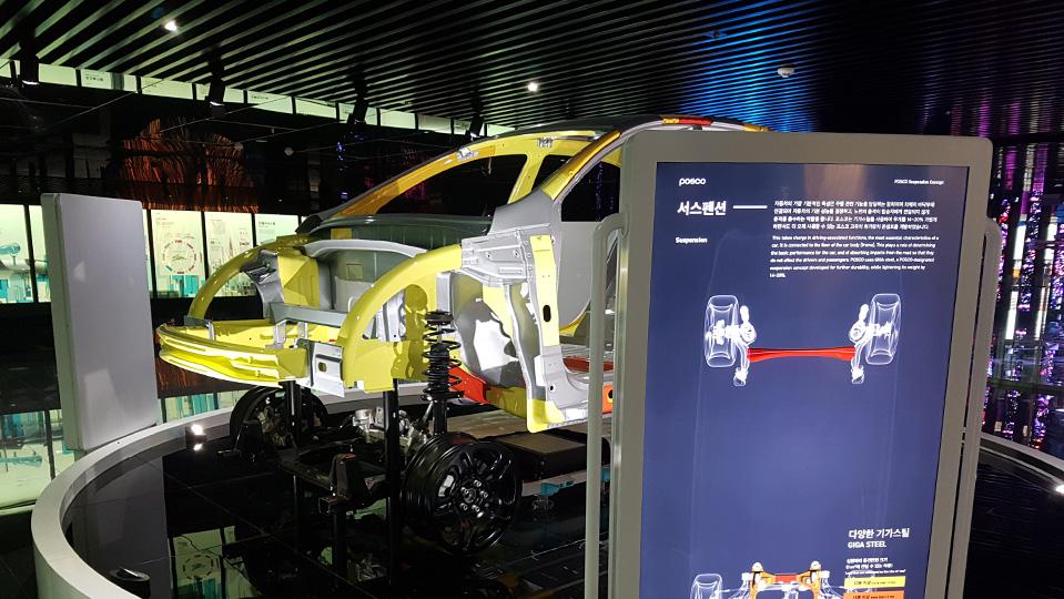 월드 프리미엄 스틸 인 더 퓨처(World Premium Steel in the Future) 테마로 구성된 2층에 있는 모형 전기차 모델의 모습.