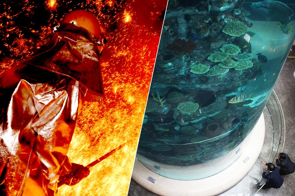 초고온의 불꽃과 씨름하는 직원(왼쪽)과 산호와 물고기가 있는 아쿠아리움을 구경하는 사람들(오른쪽)