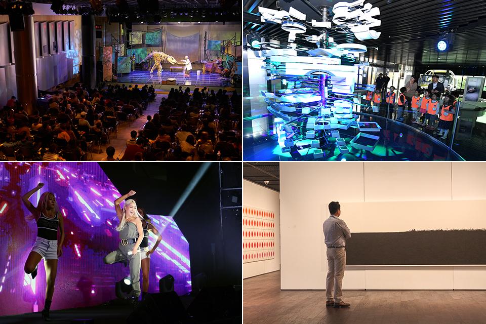 포스코 키즈 콘서트를 관람하는 관객들(좌측 상단), 스틸갤러리에서 조형물을 구경하는 아이들(우측 상단), 포스코 콘서트에서 무대를 선보이는 가수 효린(좌측 하단), 포스코 미술관에서 작품을 감상하는 사람(우측 하단)
