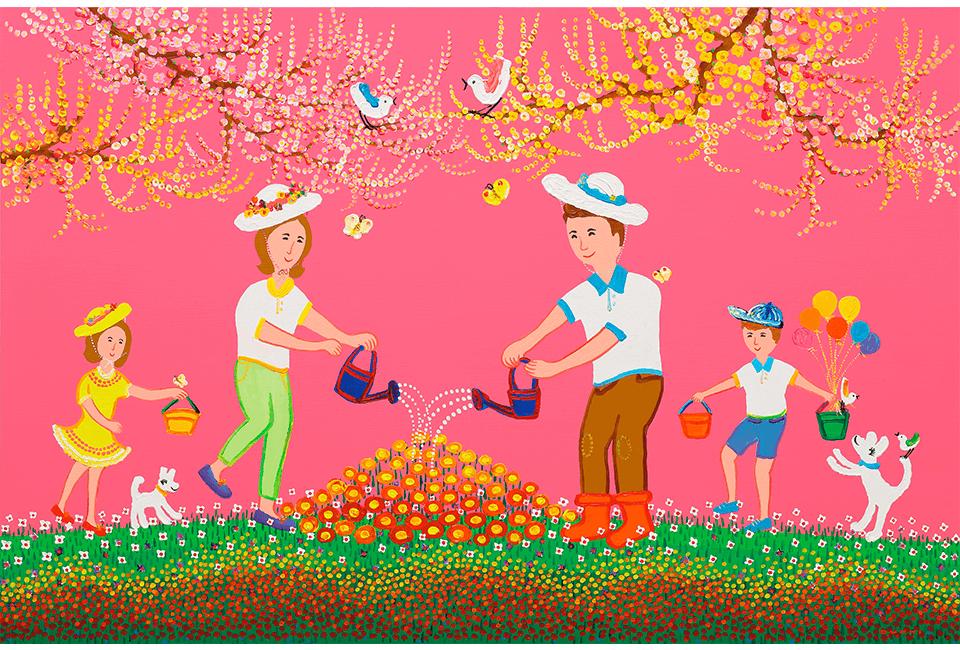 김덕기 작가가 이번 전시에서 '가족-즐거운정원'을 스틸로 작업한 작품, 가족-즐거운 정원