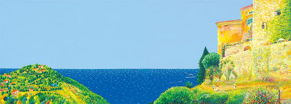 김덕기작가 아들과 저축한 돈을 모아서 간 남프랑스가 배경으로 작품에 자신과 아들을 처음 끼워넣은 작품, 에즈 빌리지 – 지중해가 보이는 풍경