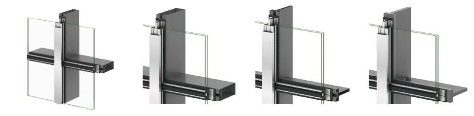스틸커튼월은 고객의 설계 의도에 따라 다양한 디자인으로 제작이 가능하다. 특히 스틸 프레임 부분의 두께는 고객이 원하는 강도를 유지하면서도 타 소재보다 얇게 제작할 수 있다.