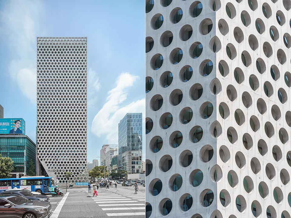 노출콘크리트로 만들어진 17층 높이의 어반하이브 건물 모습