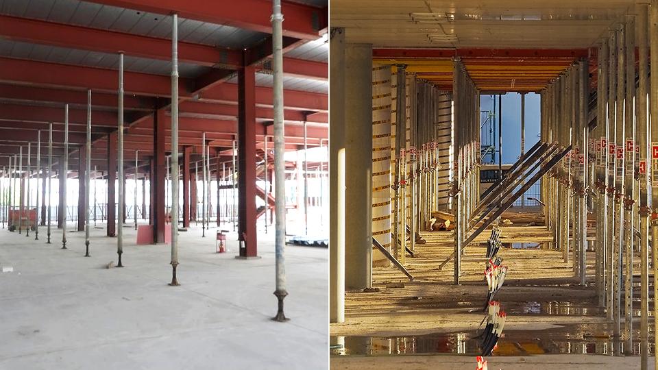 건물 상부의 하중을 분산시키는 데 사용하는 지지대 잭서포트가 건설 현장에 설치된 모습