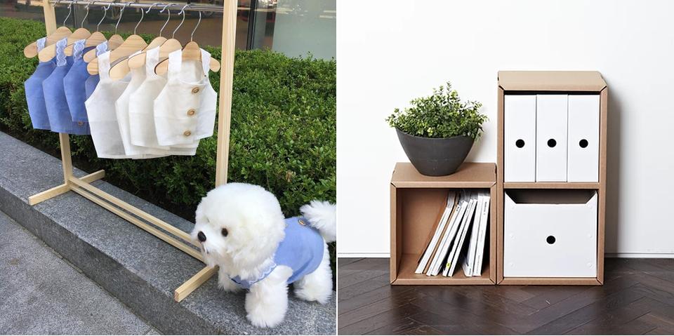 후노에서 판매 중인 반려 용품(좌). 왼쪽사진, 강아지옷들이 행거에 걸려있고 우측 아래에  옷을 입고 있는 강아지의 모습 / 페이퍼팝에서 제작한 종이 수납장(우)