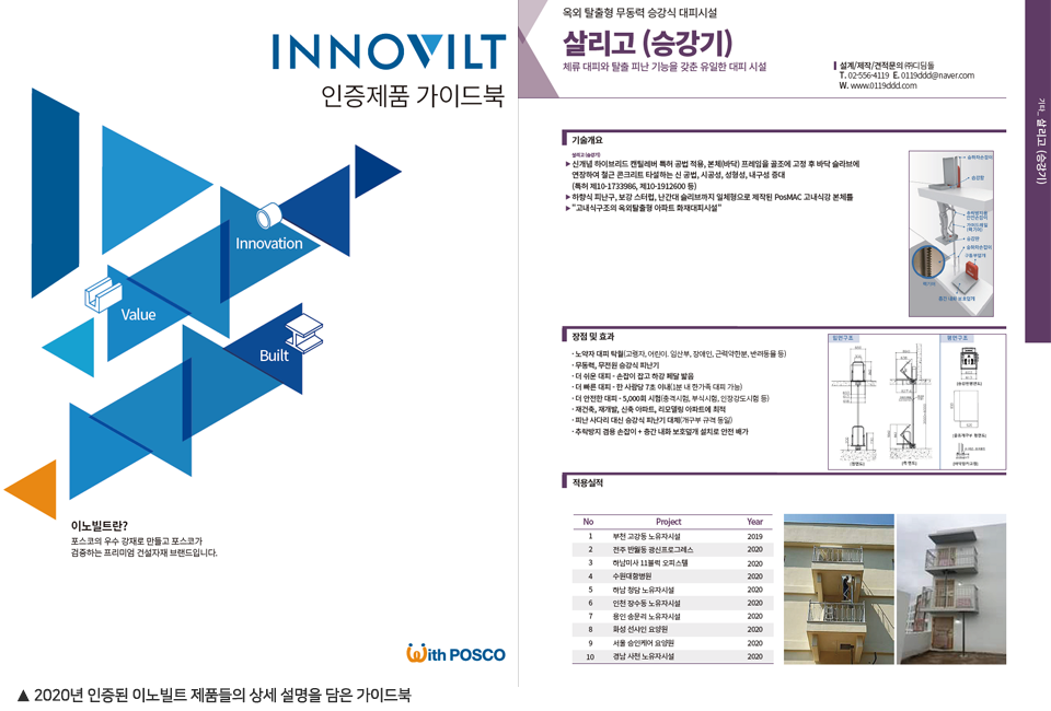 2020년 인증된 이노빌트 제품들의 상세 설명을 담은 가이드북