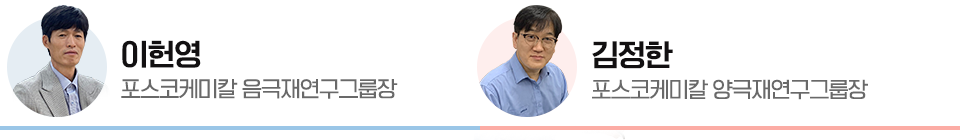 이헌영 포스코케미칼 음극재연구그룹장과 김정한 포스코케미칼 양극재연구그룹장