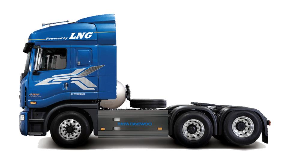 타타대우상용차가 한국가스공사‧한국천연가스수소차량협회와 공동 개발한 한국 최초 LNG 트랙터 프리마 LNG.