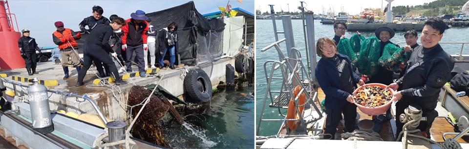 포항 제철소 인근 해역에서 수중 및 해안가 환경정화 활동을 펼치고 있는 클린오션봉사단 활동 모습. (좌) 그물을 이용하여 환경정화 활동을 펼치는 모습. (우) 클린오션봉사단원들이 바구니에 담긴 불가사리를 들고 기념 사진을 찍는 모습.