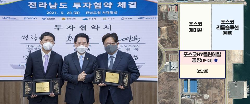 좌측이미지는 전라남도 투자협약 체결에서 관계자들이 기념사진을 찍는 이미지. 우측은 공장 부지 이미지로 좌상단 포스코케미칼, 우상단 포스코리튬솔루션(예정) 하단 포스코HY클린메탈 공장 1단계와 아래 2단계 이미지.