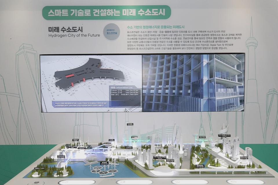 미래수소도시를 보여주는 모형 이미지.