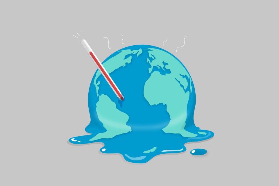 지구의 온도가 올라가면서 지구가 녹고 있는 이미지.