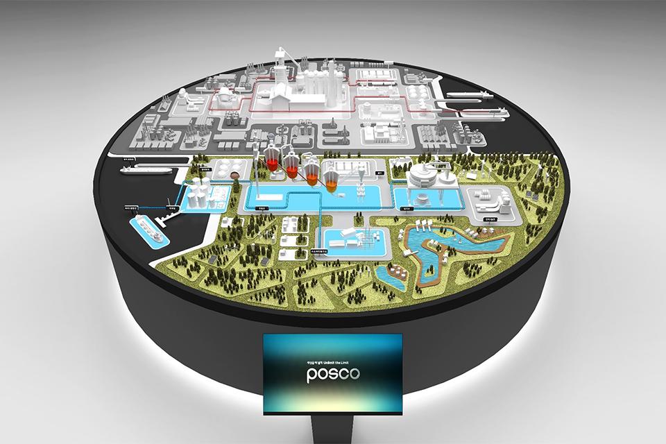 이번 전시에서 만나볼 수 있는 수소환원제철 모형이다.