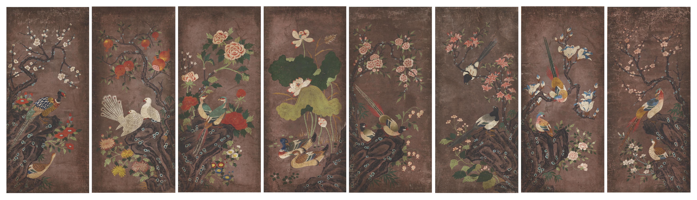 흑지화초영모(黑紙花草翎毛) 8폭병풍 작품 이미지